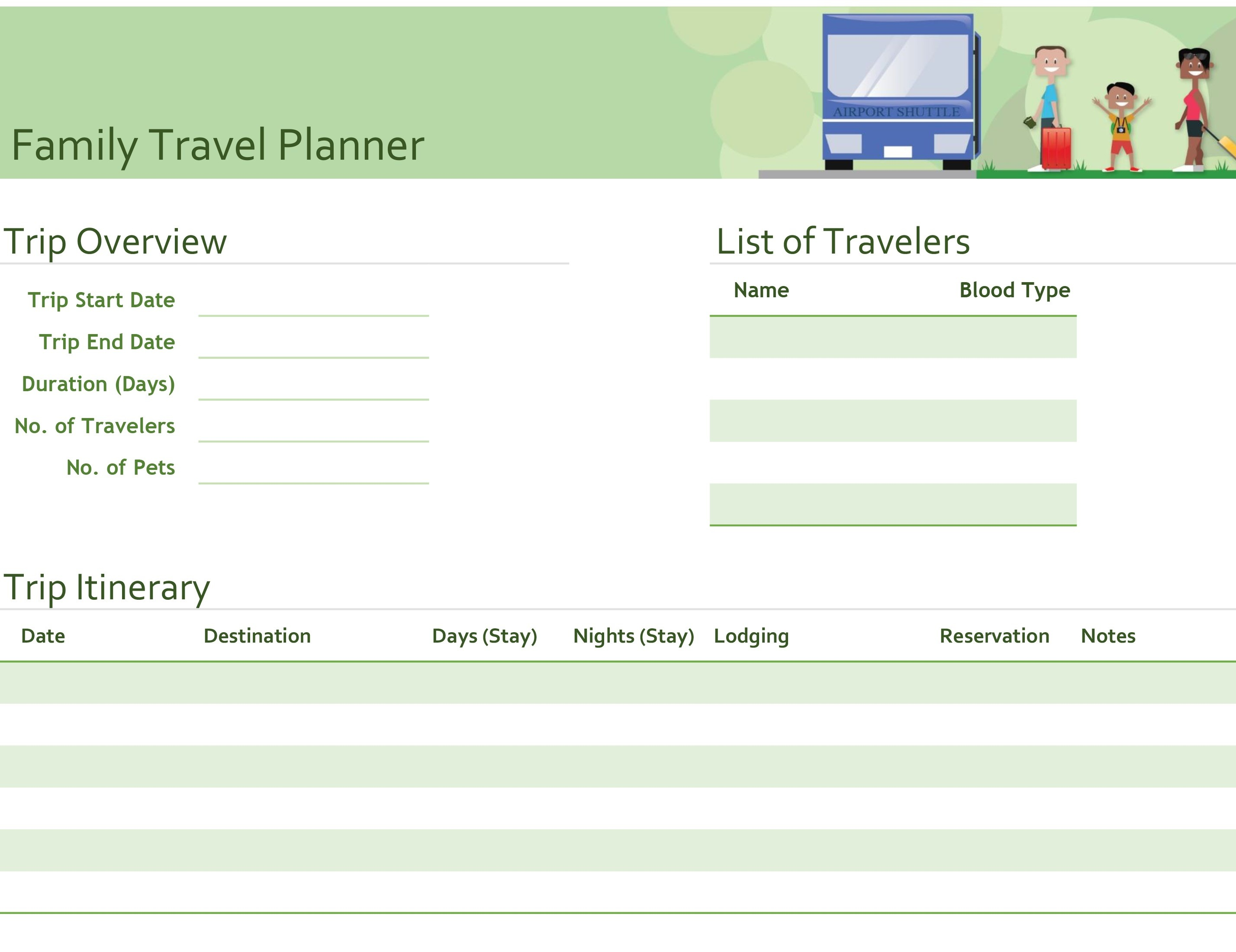 Itineraries - Office - Free Printable Itinerary