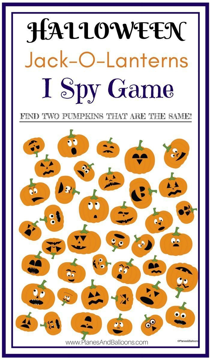 Jack-O-Lantern I Spy Printable Worksheets Game For Halloween Fun - Free Printable Halloween Homework Pass
