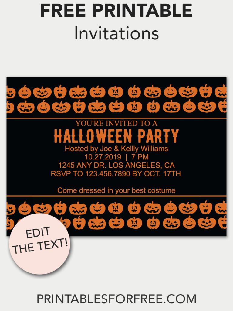 Jack-O'-Lantern Printable Invitation | Free Printable Invitations - Free Printable Halloween Party Decorations