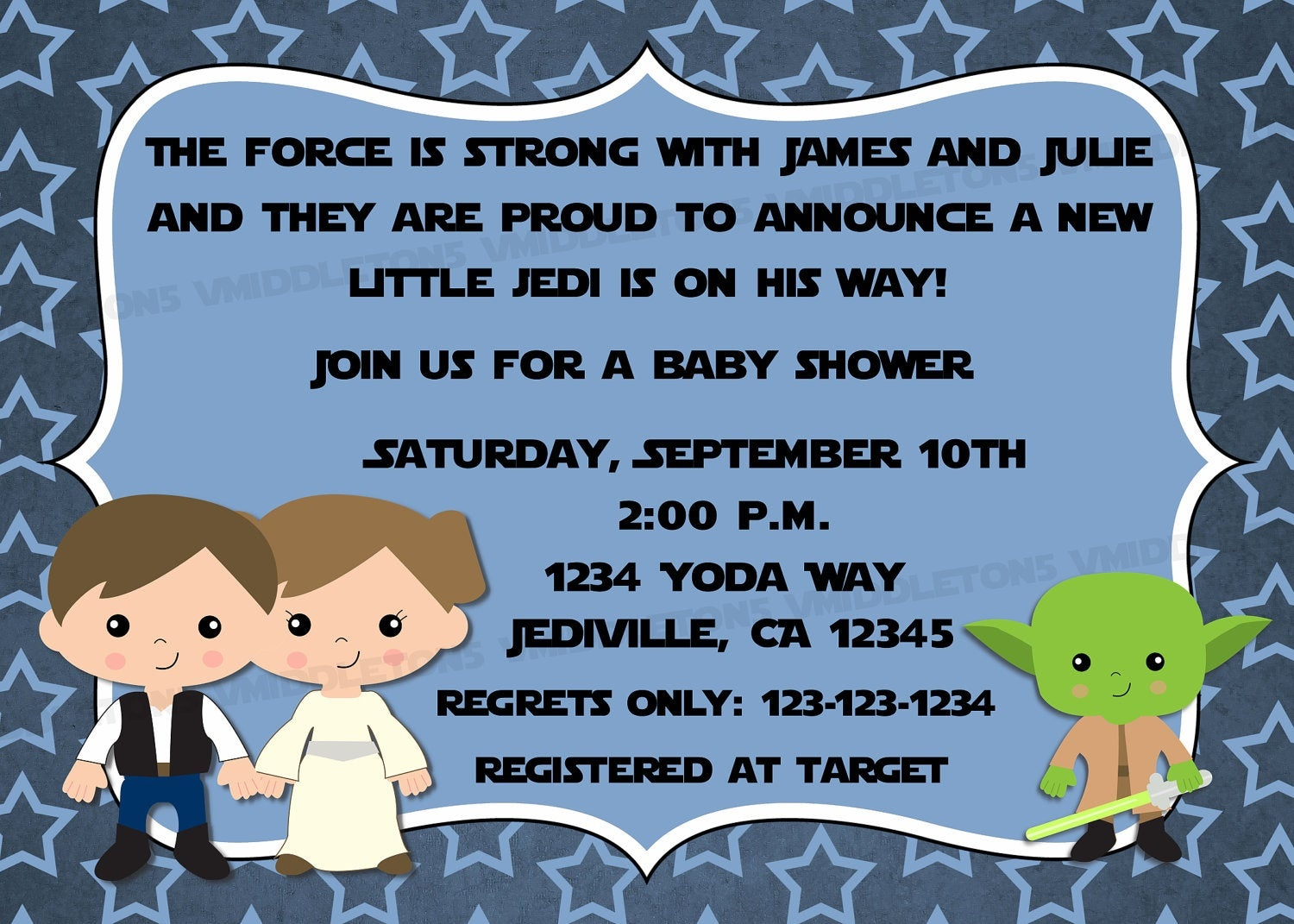 Jedi Star Wars Theme Inspired Baby Shower Invitation With | Etsy - Free Printable Star Wars Baby Shower Invites