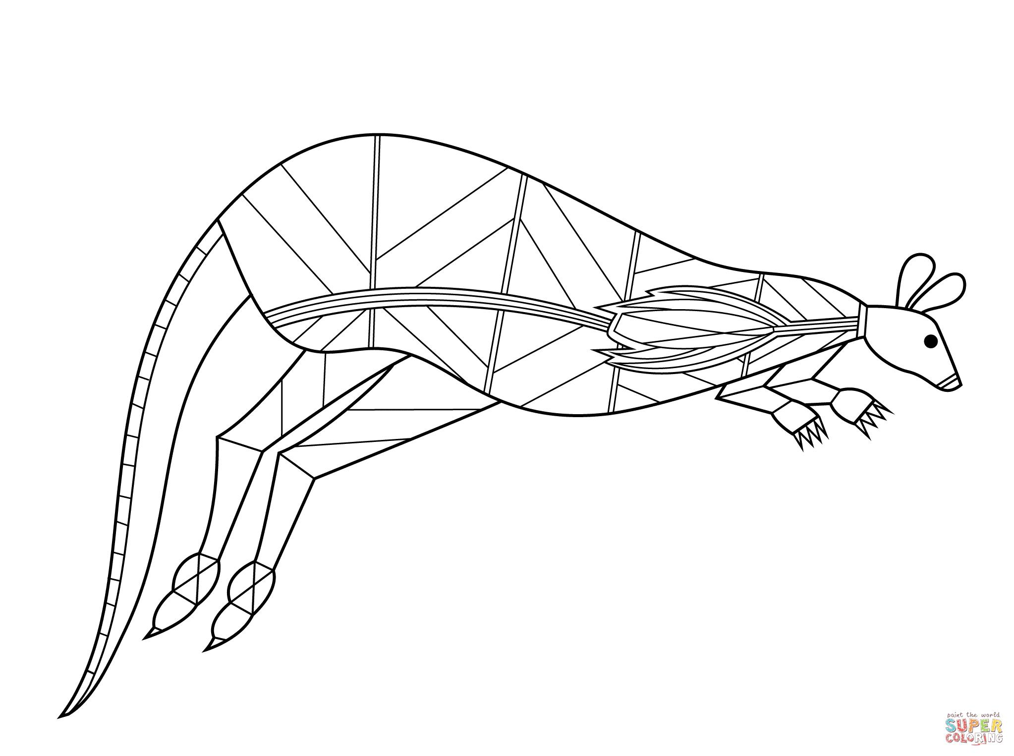 Kangaroo In Aboriginal Style Coloring Page | Free Printable Coloring - Free Printable Arty Animal Outlines