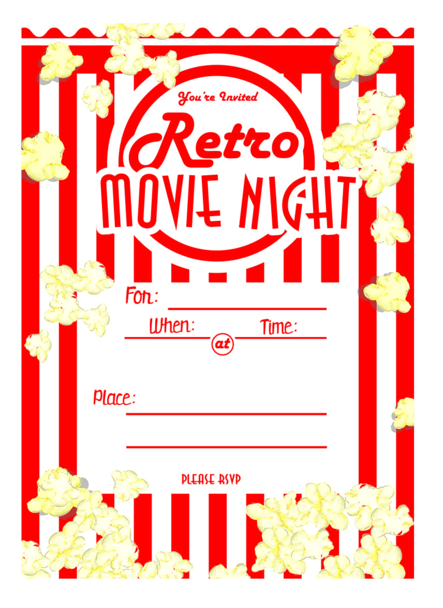 Kara's Party Ideas Movie Night Party With Free Printables! | Kara's - Movie Night Birthday Invitations Free Printable