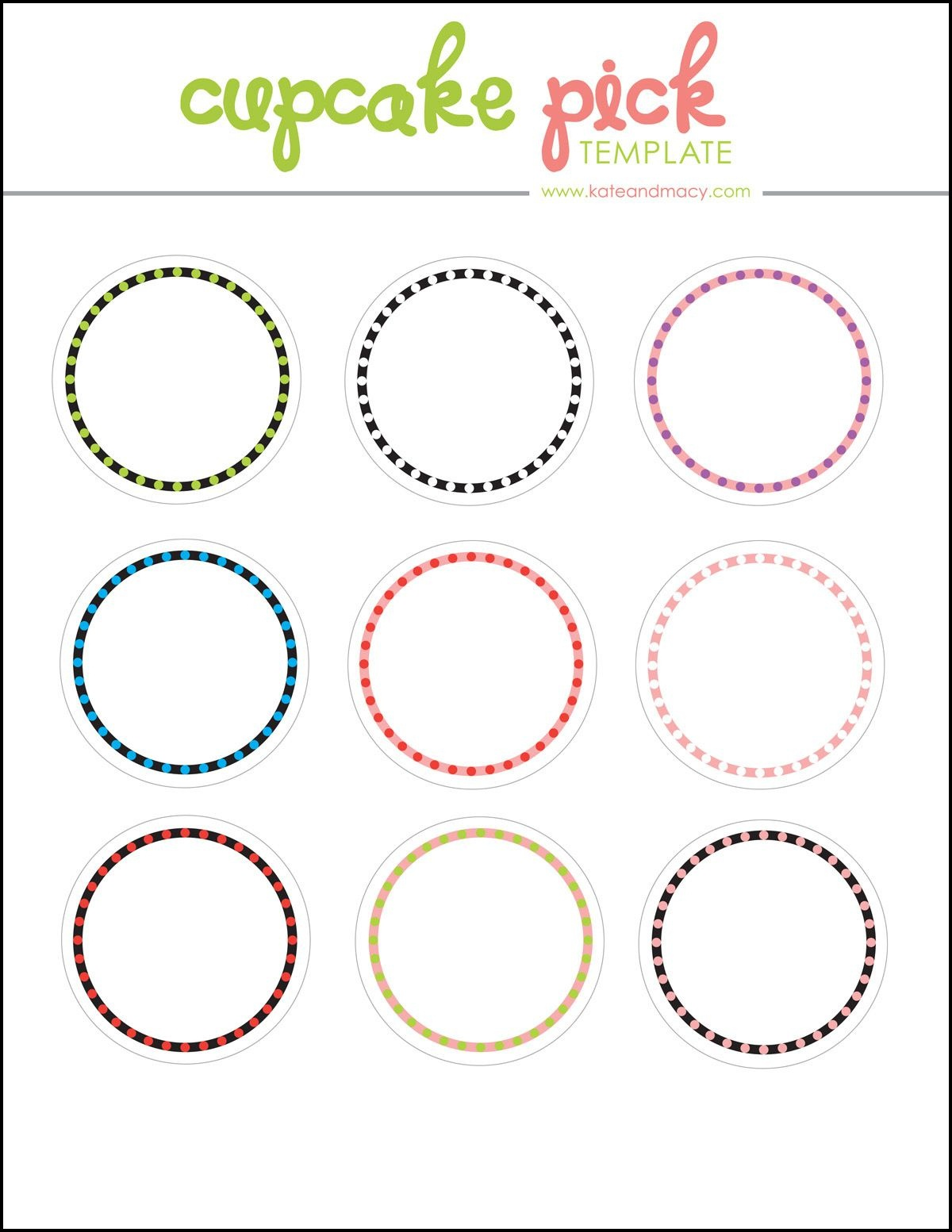 Kate: Free Digital Cupcake Pick Topper Template | Holiday, Celebrate - Baptism Cupcake Toppers Printable Free
