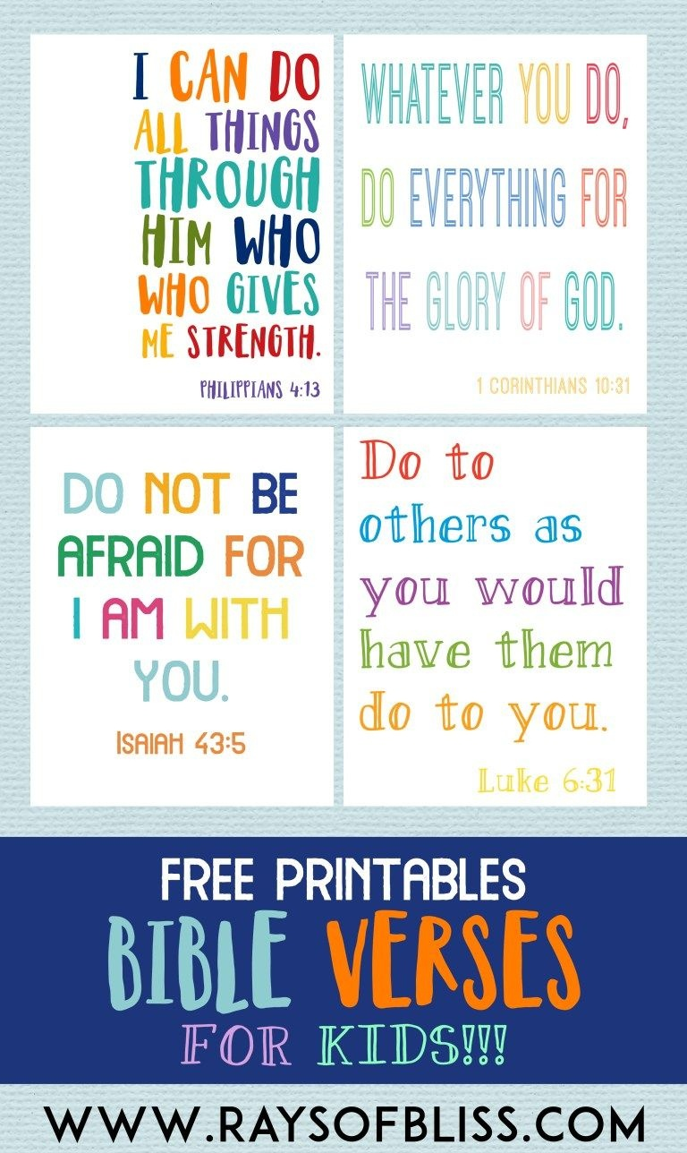 Kids Bible Verses Free Printables - Set Of 4 - Rays Of Bliss - Free Printable Bible Verses For Children