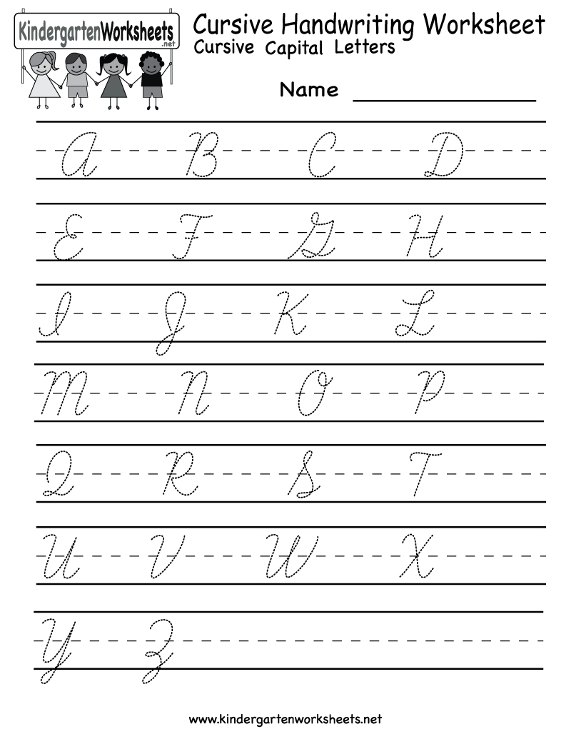 Kindergarten Cursive Handwriting Worksheet Printable | School And - Cursive Letters Worksheet Printable Free