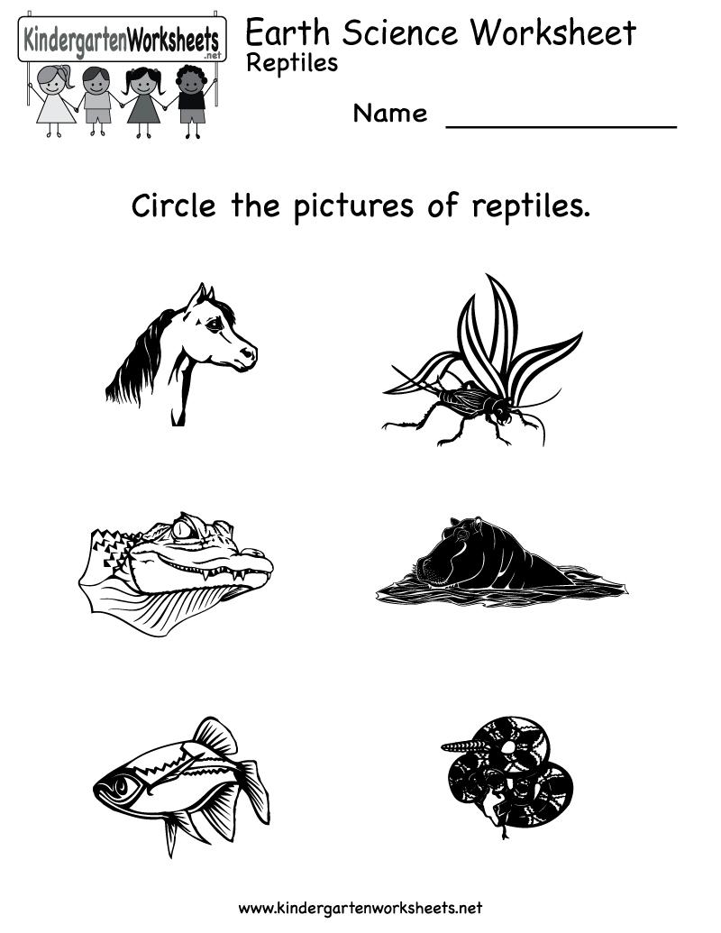 Kindergarten Earth Science Worksheet Printable | Worksheets (Legacy - Free Printable Reptile Worksheets