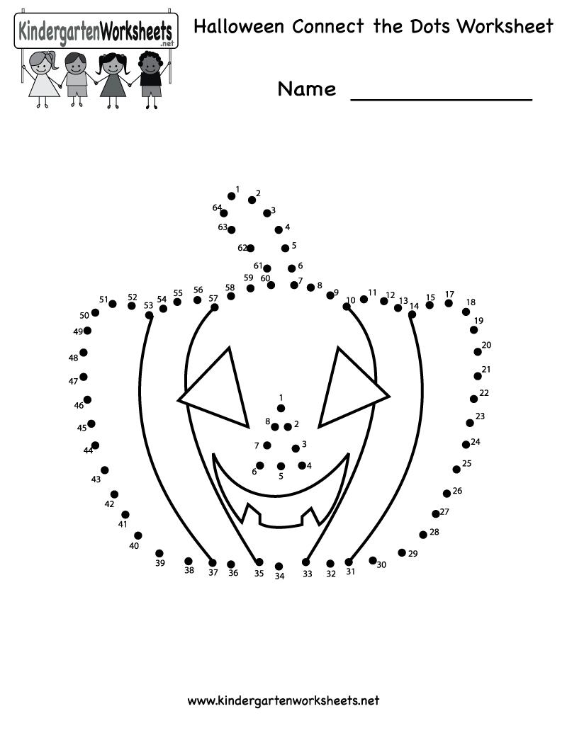 Kindergarten Halloween Connect The Dots Worksheet Printable | Free - Free Printable Halloween Worksheets