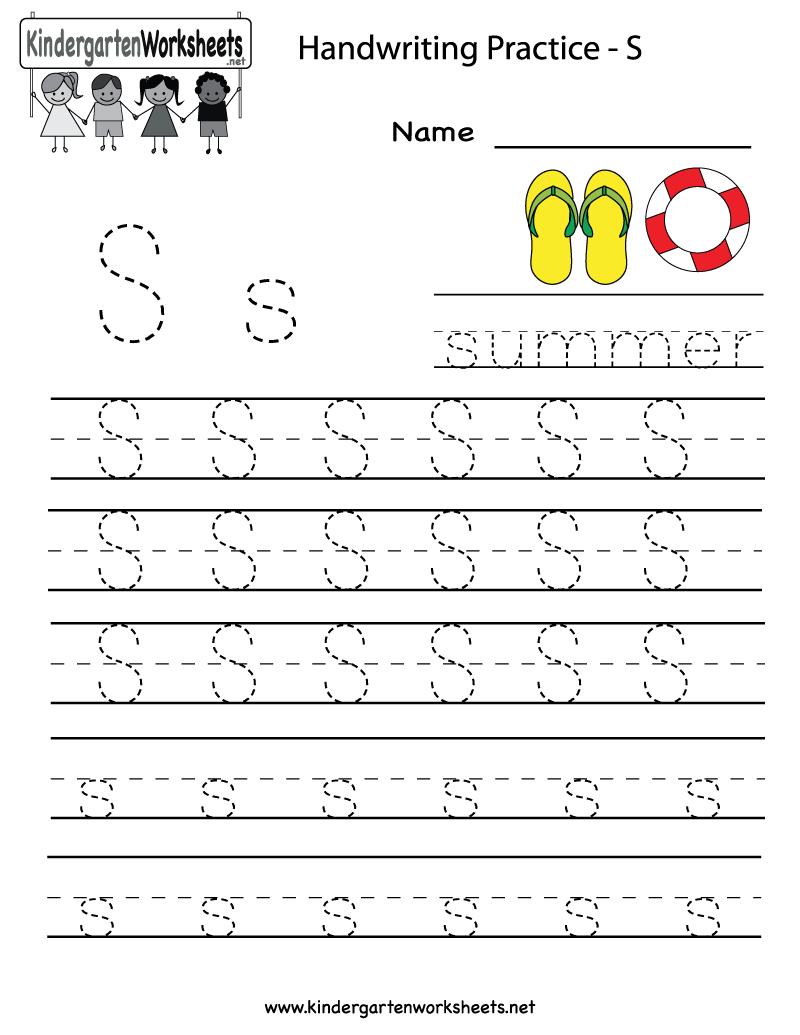 Kindergarten Letter S Writing Practice Worksheet Printable | G - Free Printable Writing Worksheets