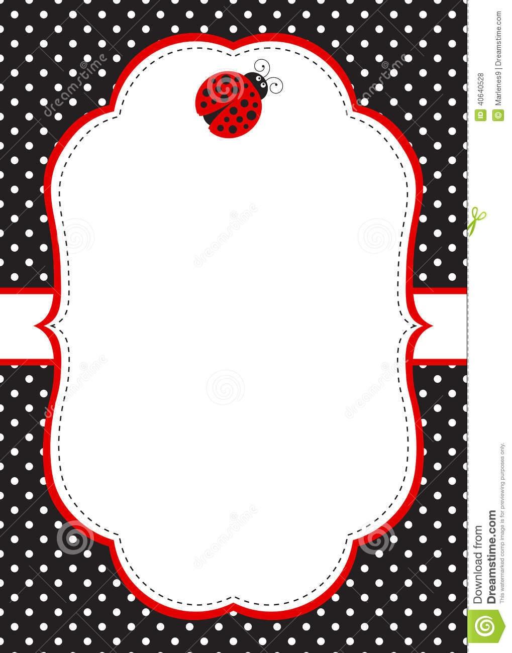 Ladybug Invitation Template Stock Vector - Illustration Of Birthday - Free Printable Ladybug Invitations