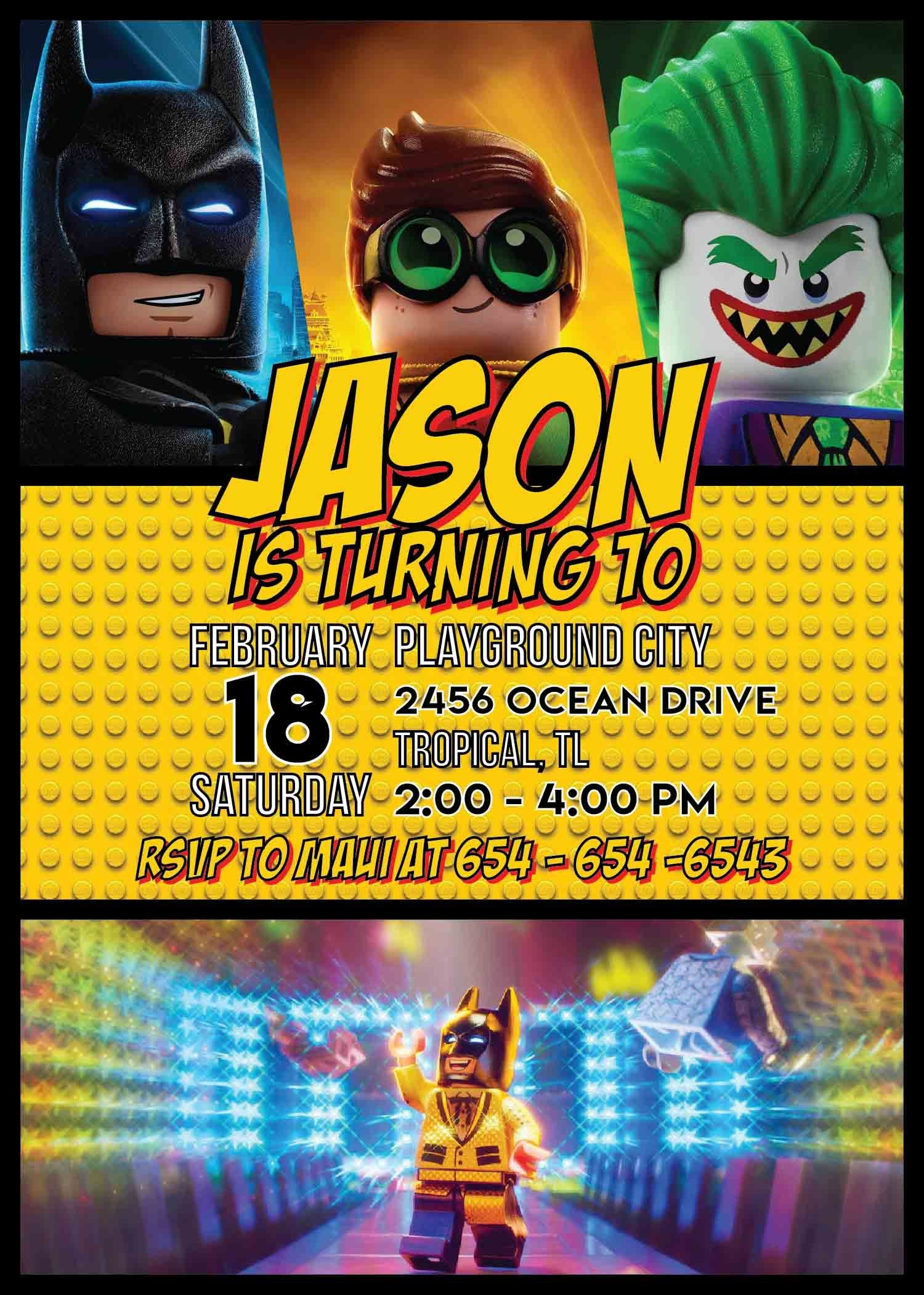 Lego Batman Party Invitation Template In 2019 | Lego Batman Party - Lego Batman Party Invitations Free Printable