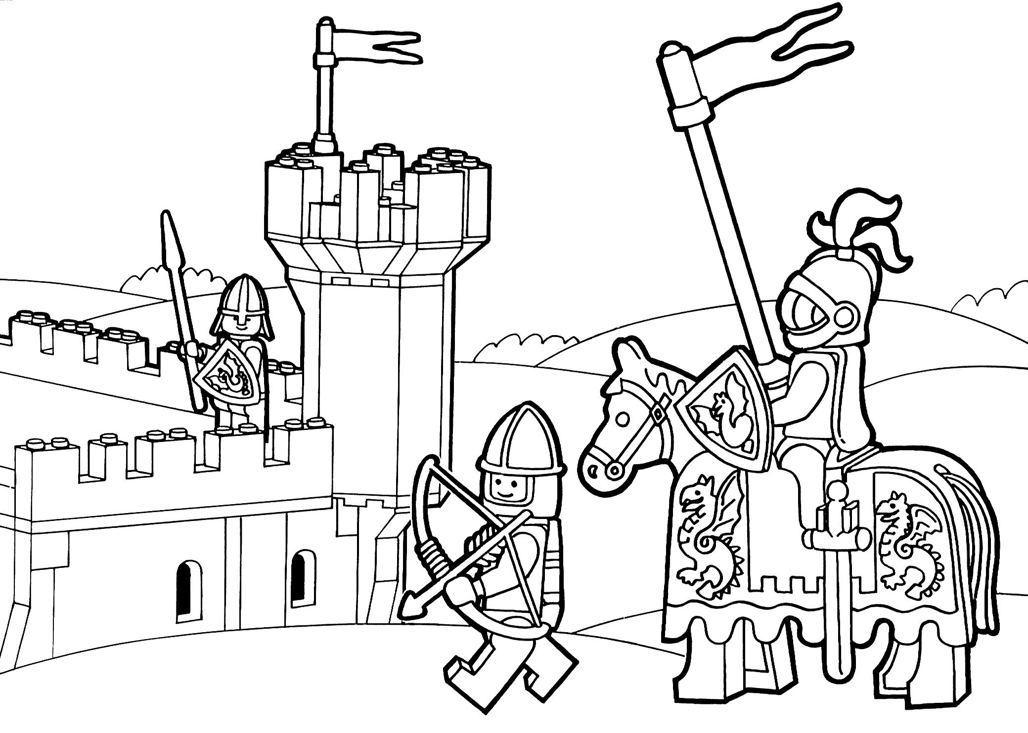 Lego Knights Coloring Pages. Lego Nexo Knights Coloring ...