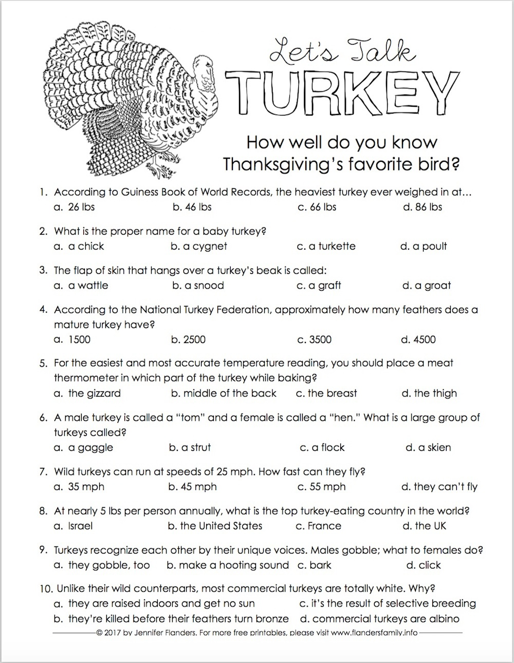 Let's Talk Turkey: Trivia Quiz For Thanksgiving - Flanders Family - Free Printable Trivia Questions And Answers