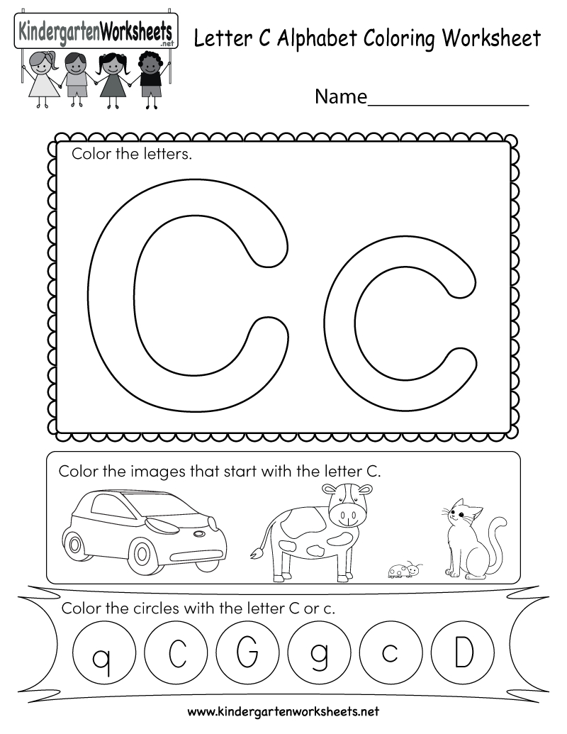 Letter C Coloring Worksheet - Free Kindergarten English Worksheet - Free Printable Letter C Worksheets