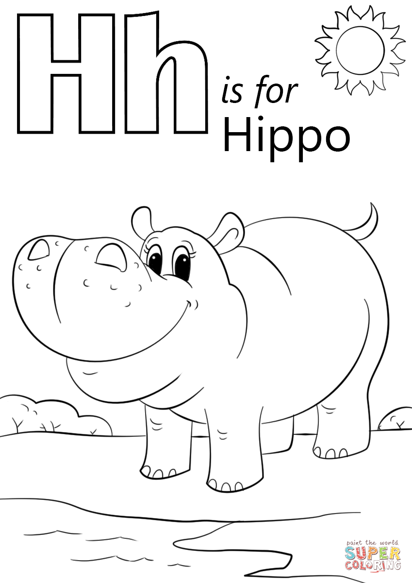Letter H Is For Hippopotamus Coloring Page | Free Printable Coloring - Free Printable Hippo Coloring Pages