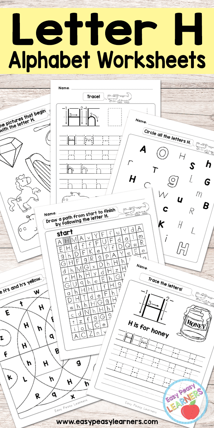 Letter H Worksheets - Alphabet Series - Easy Peasy Learners - Free Printable Letter Recognition Worksheets