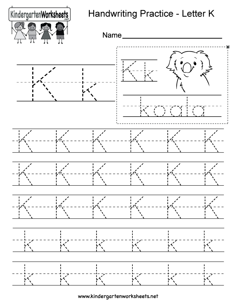 Letter K Writing Practice Worksheet. This Series Of Handwriting - Free Printable Writing Worksheets
