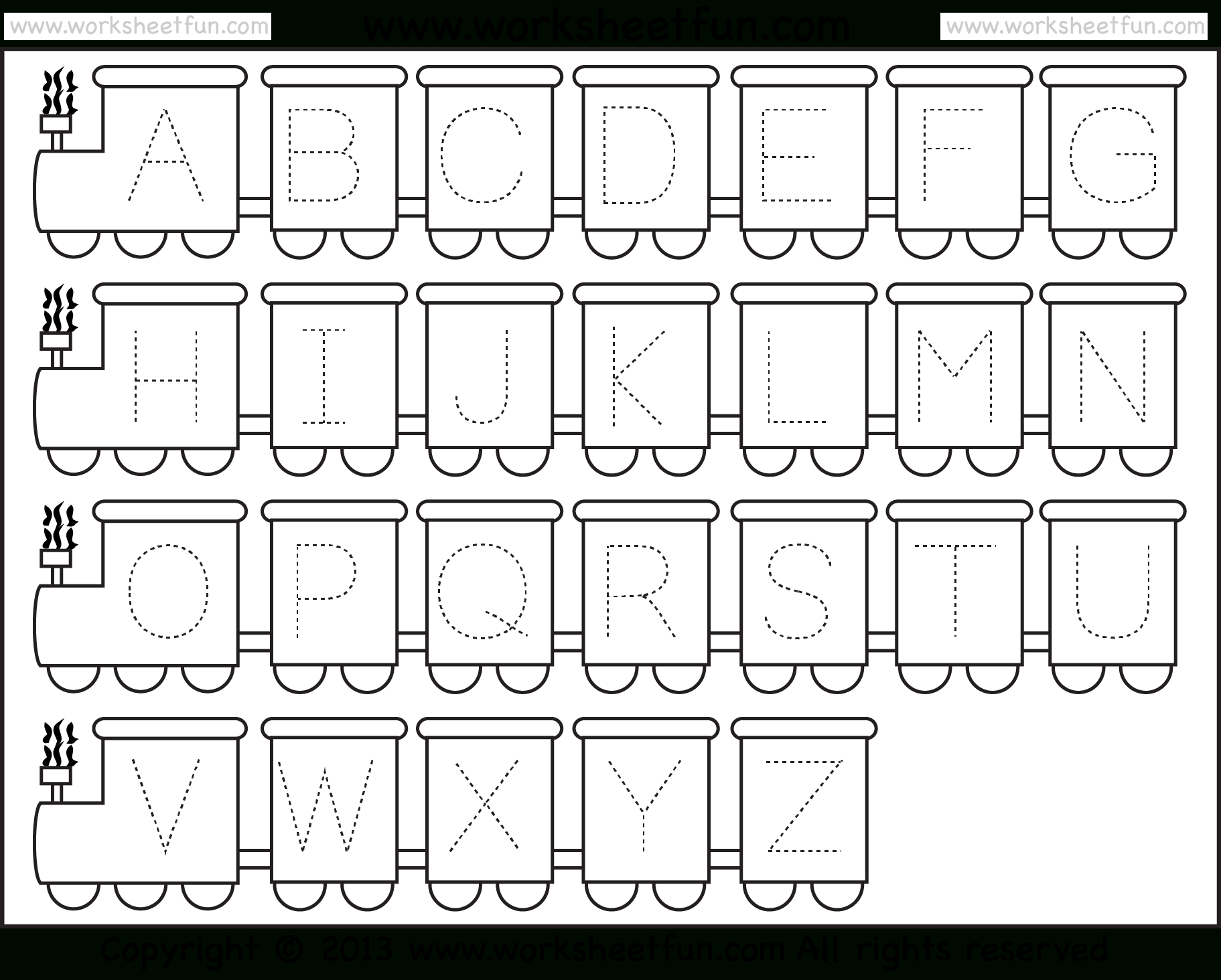 Letter Tracing Worksheet – Train Theme / Free Printable Worksheets - Free Printable Tracing Letters And Numbers Worksheets