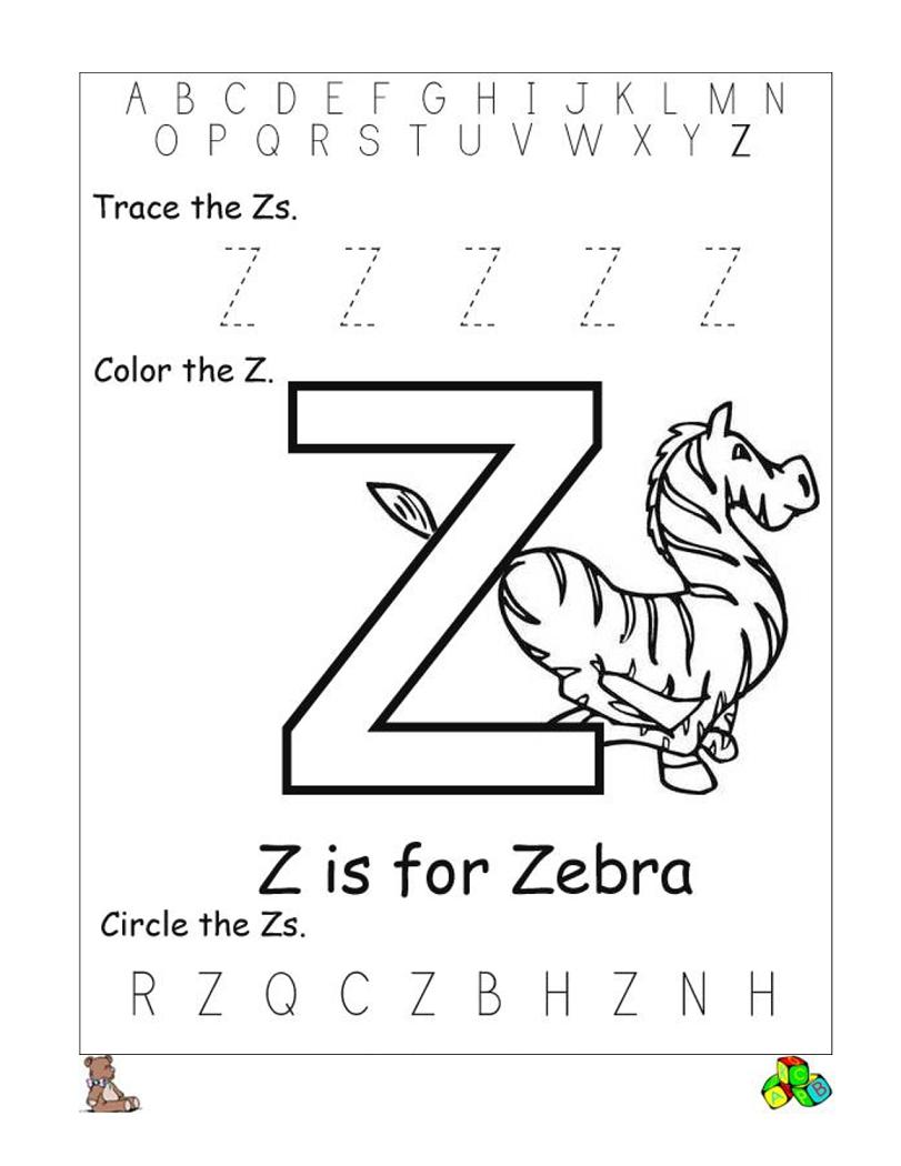 Letter Z Worksheets Printable | Reading // Sight Words - Letter Z Worksheets Free Printable