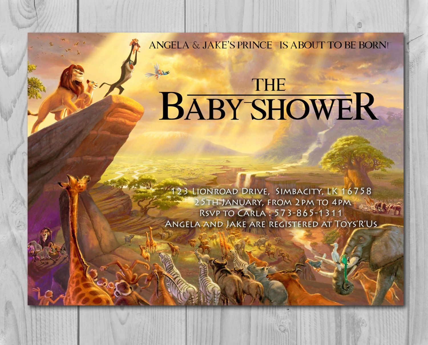 Lion King Baby Shower Invitation, Jungle Invitation, Disney Invite - Free Printable Lion King Baby Shower Invitations