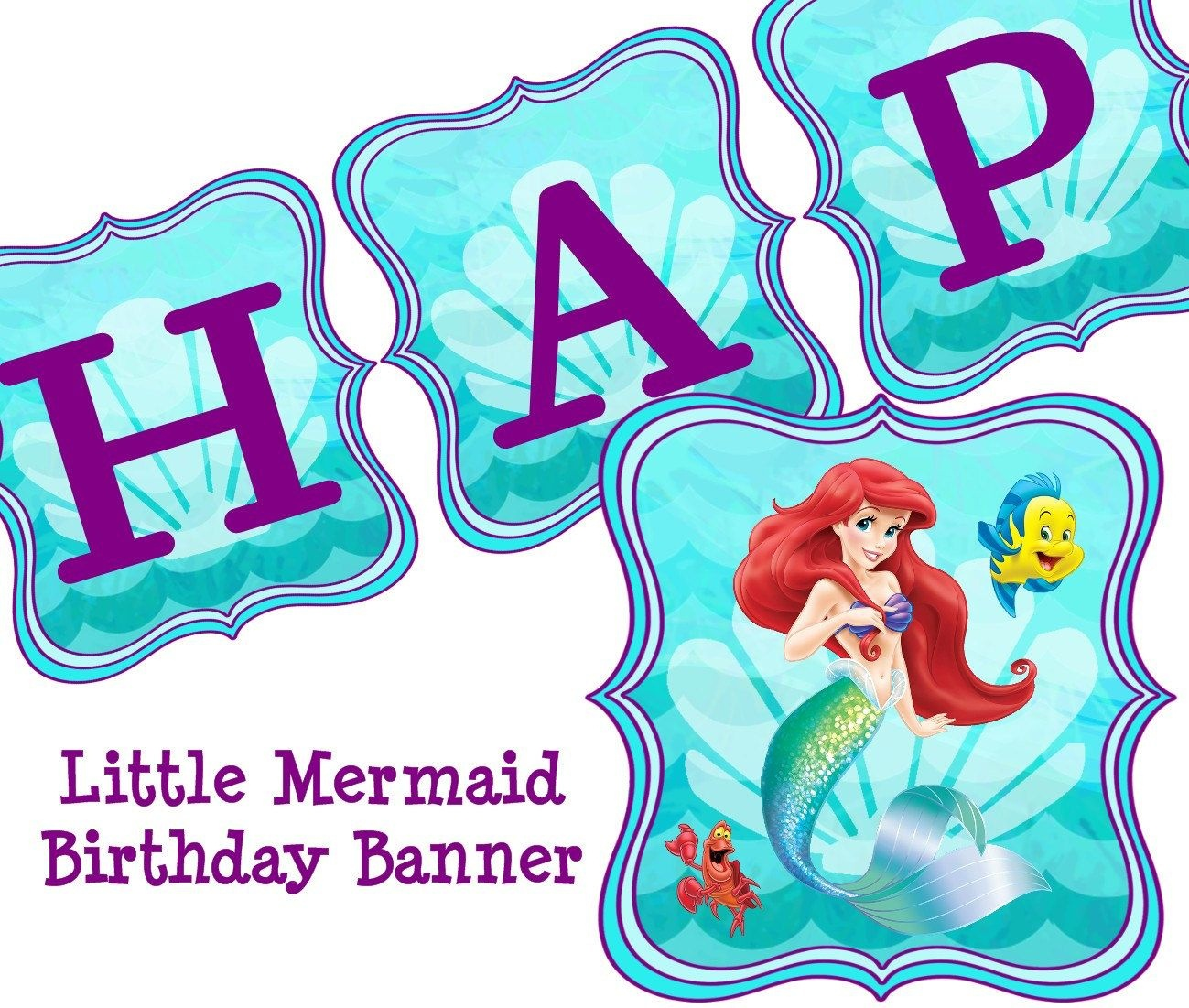 Little Mermaid Free Party Printables - Buscar Con Google | Lil - Free Printable Little Mermaid Birthday Banner