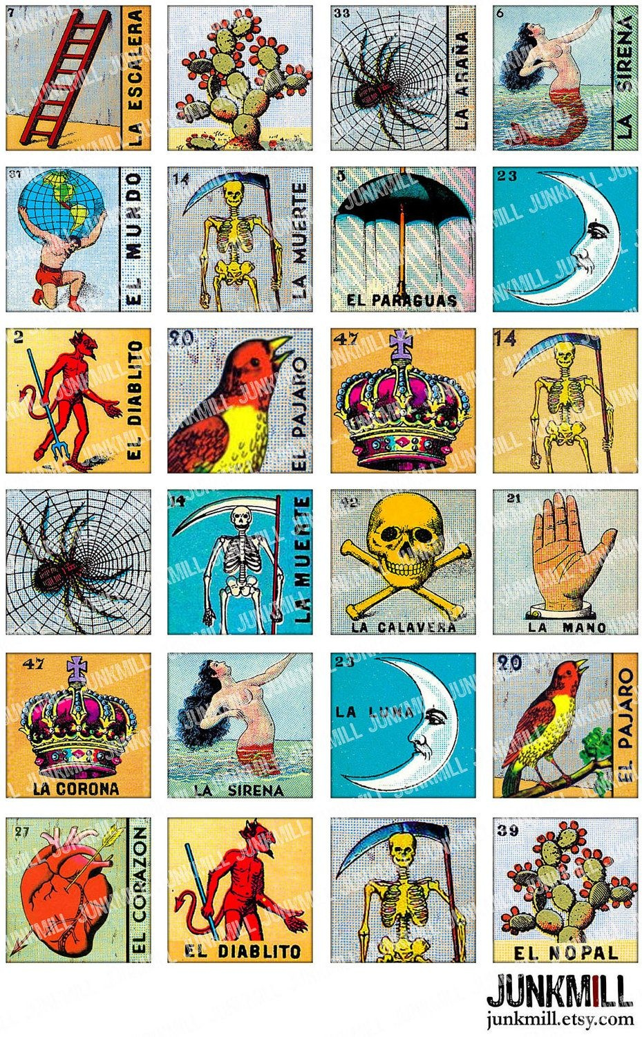 Loteria - Collage Sheet - Vintage Loteria Cards, Mexican Bingo, Day - Free Printable Loteria Game