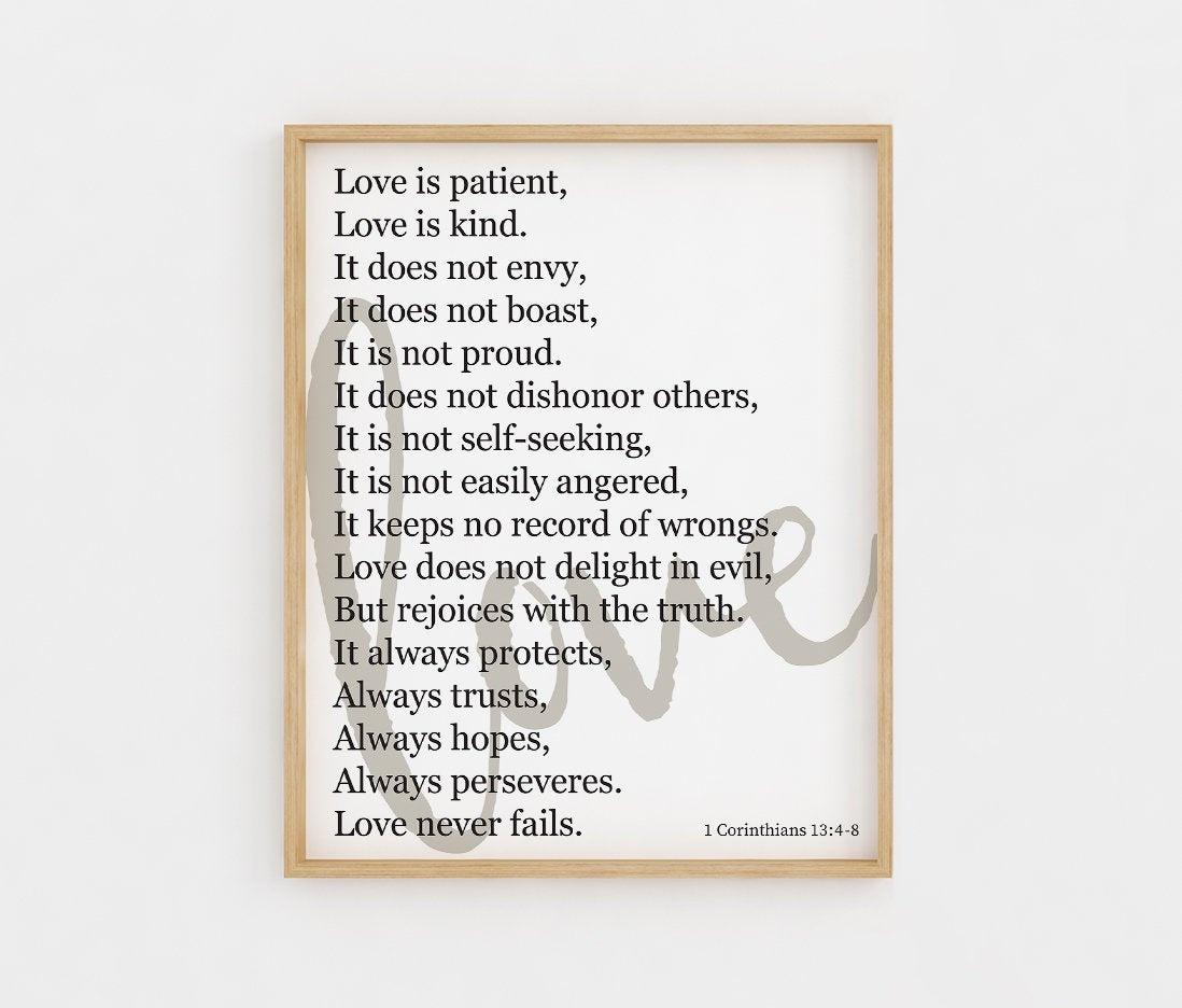 Love Is Patient Love Is Kind Printable Wall Art Bible Verse | Etsy - Love Is Patient Love Is Kind Free Printable