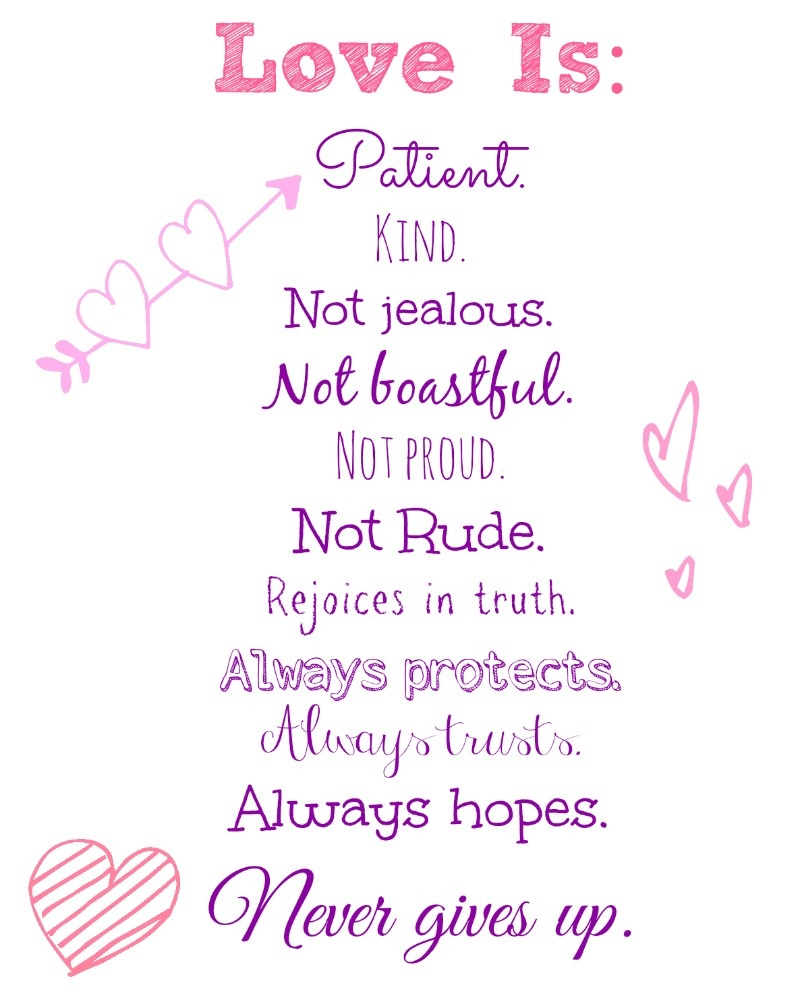 Love Is..valentine's Day Free Printable! - Nessa Makes - Love Is Patient Love Is Kind Free Printable