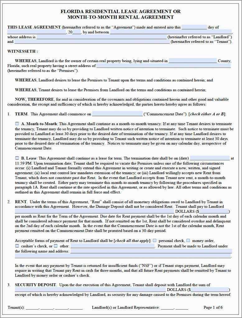 Lovely Rental Agreement Template Florida Free   Best Of Template - Free Printable Florida Residential Lease Agreement