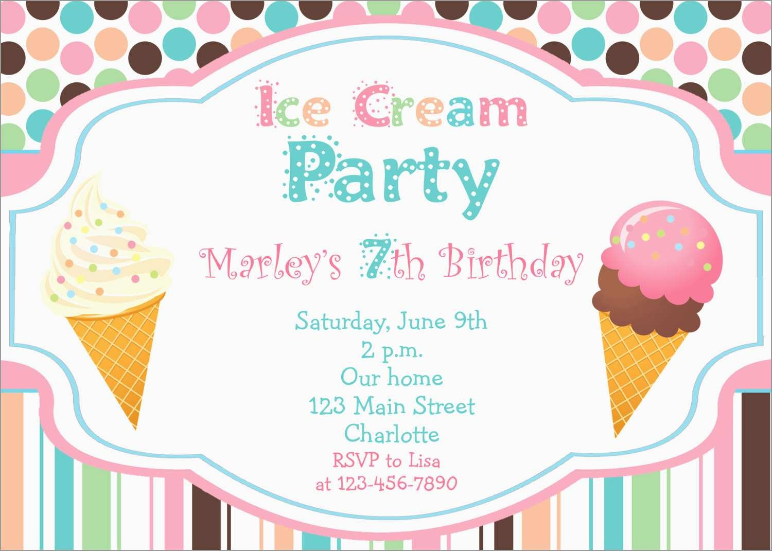 Luxury Ice Cream Social Invitation Template Free | Best Of Template - Ice Cream Party Invitations Printable Free