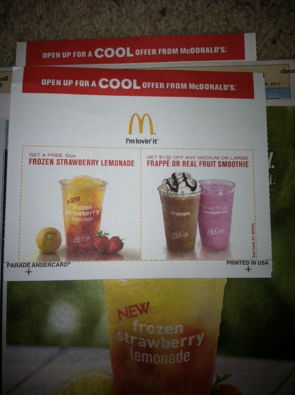 Make Sure To Check The Parade Magazine! Mcdonalds Coupons - Free Mcdonalds Smoothie Printable Coupon