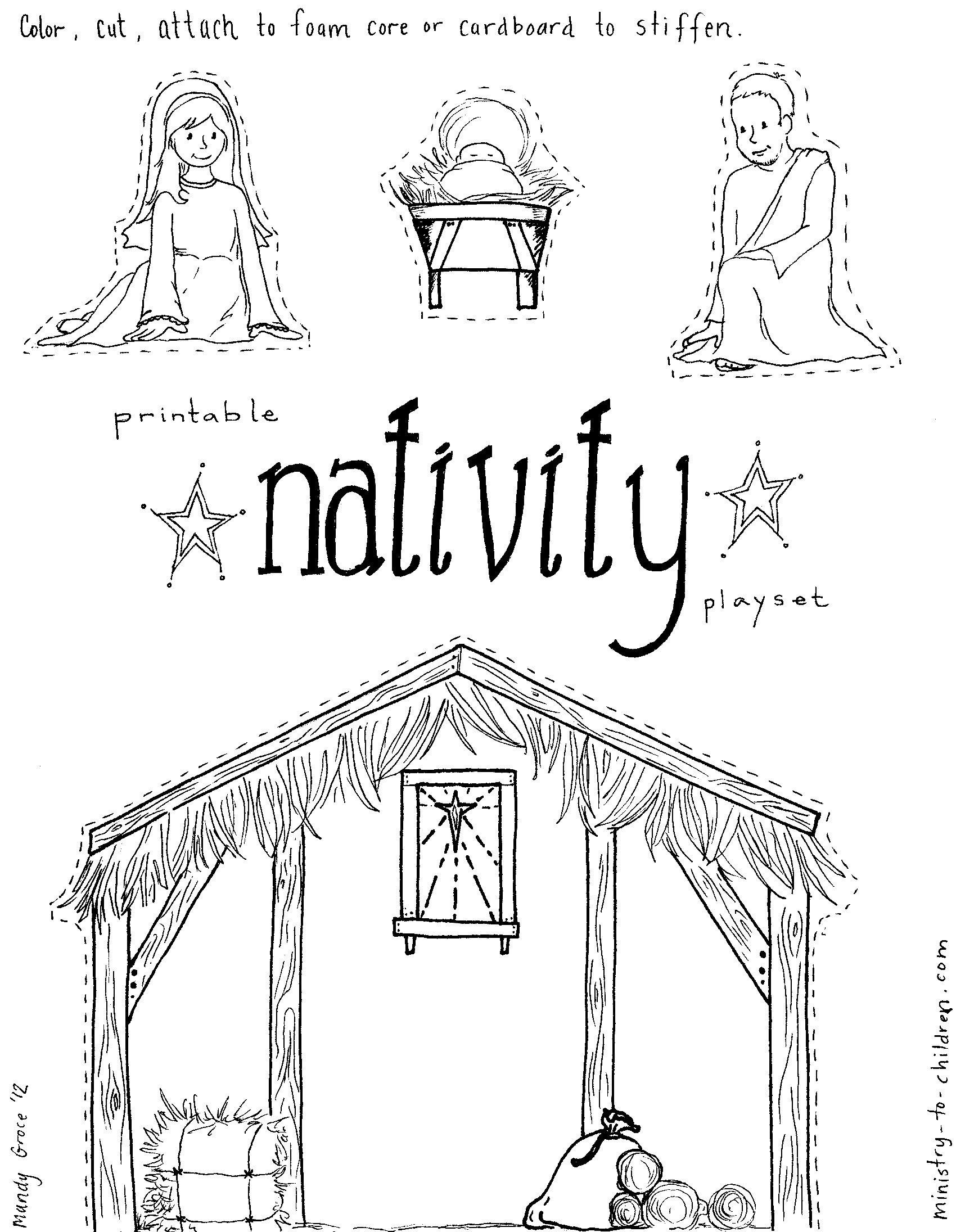 Manger Scene Coloring Page Free Pages Download Xsibe Within | Yard - Free Printable Nativity Story Coloring Pages
