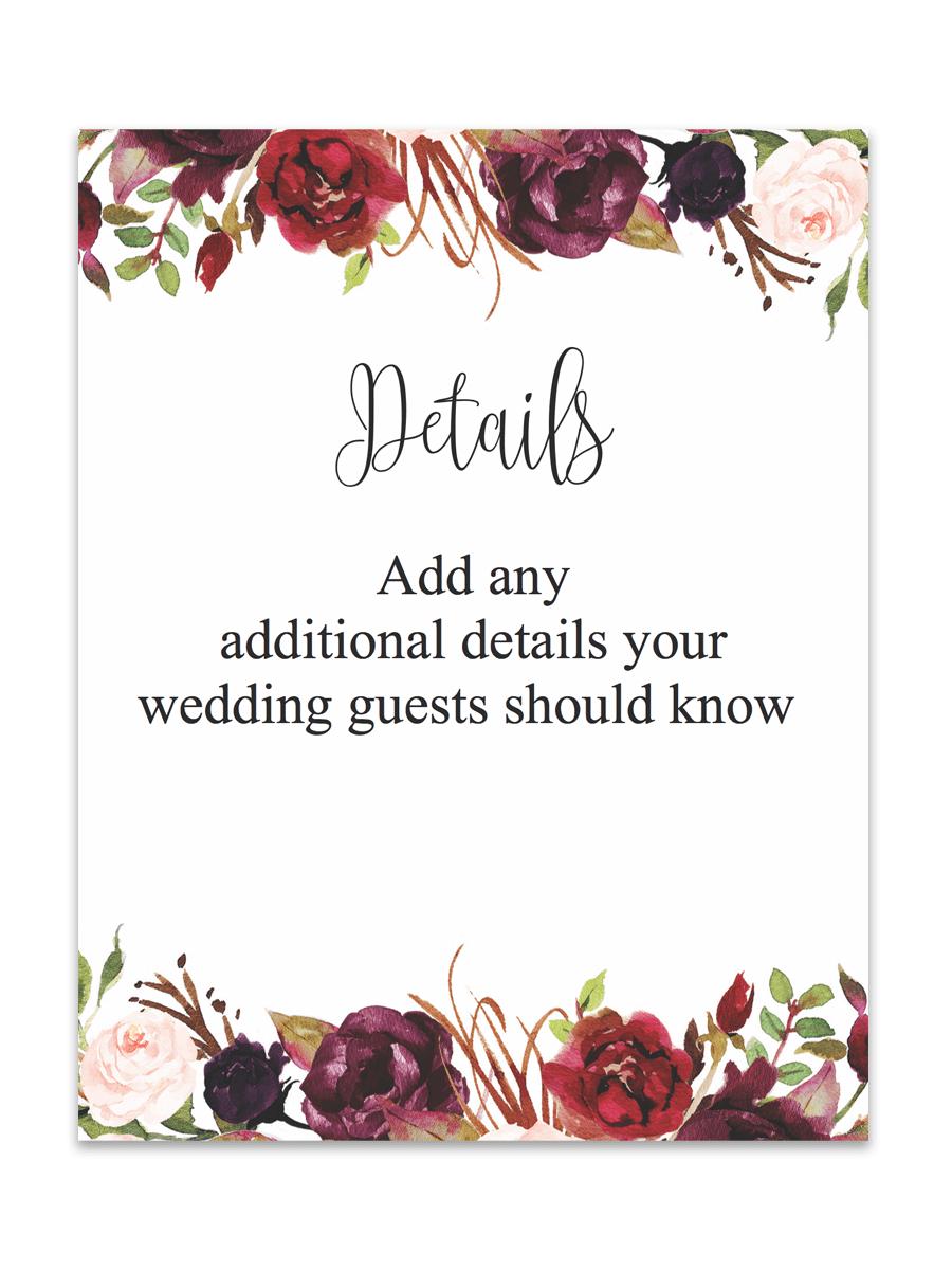 Marsala Floral Printable Wedding Enclosure Cards   Hawaii   Floral - Free Printable Enclosure Cards
