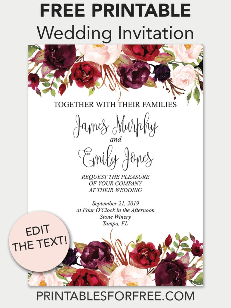 Marsala Floral Printable Wedding Invitation | Invitations - Free - Printable Invitation Templates Free Download