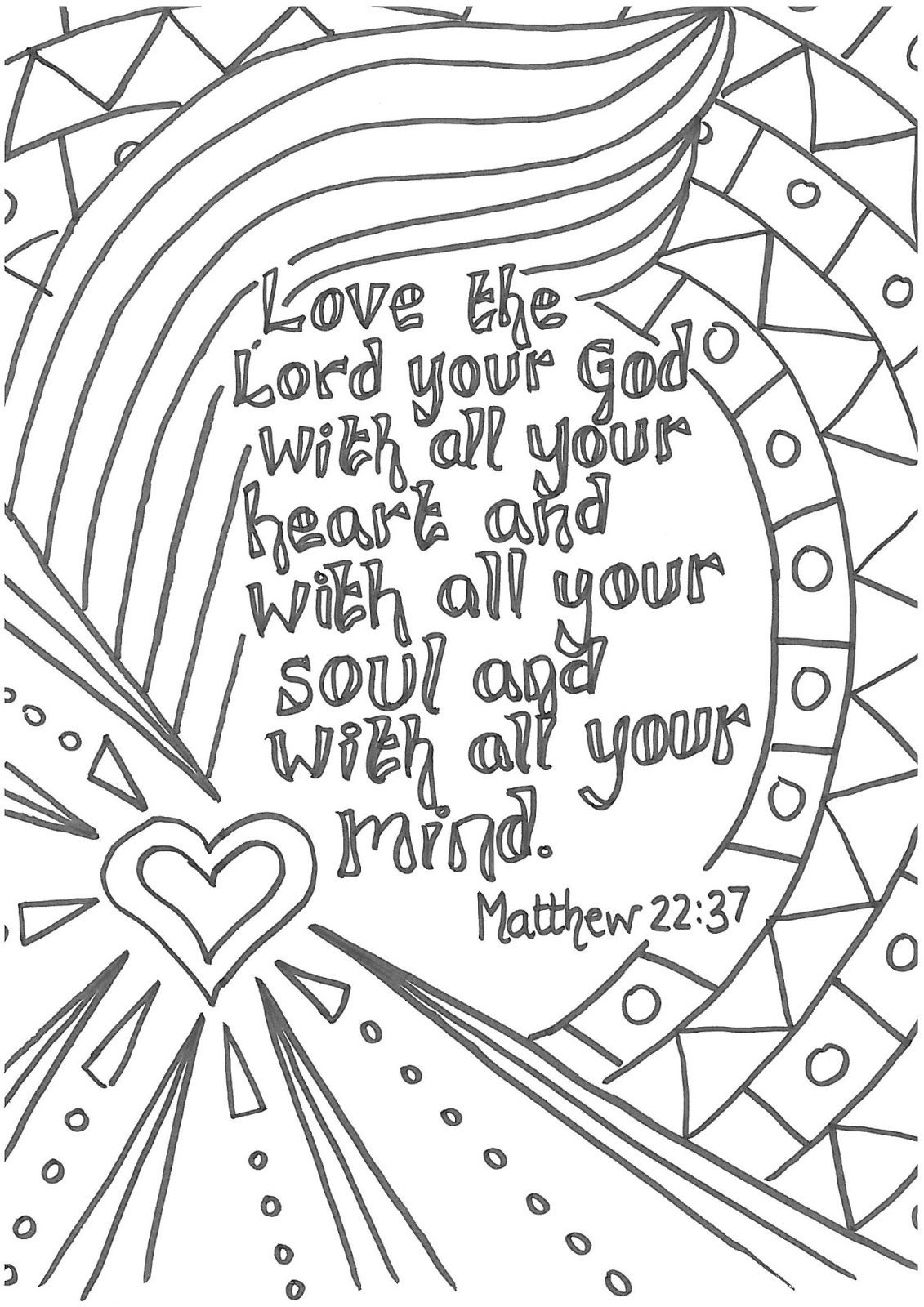 Matt 22:37 Love The Lord Your God With All Your Heart Printable - Free Printable Lord's Prayer Coloring Pages