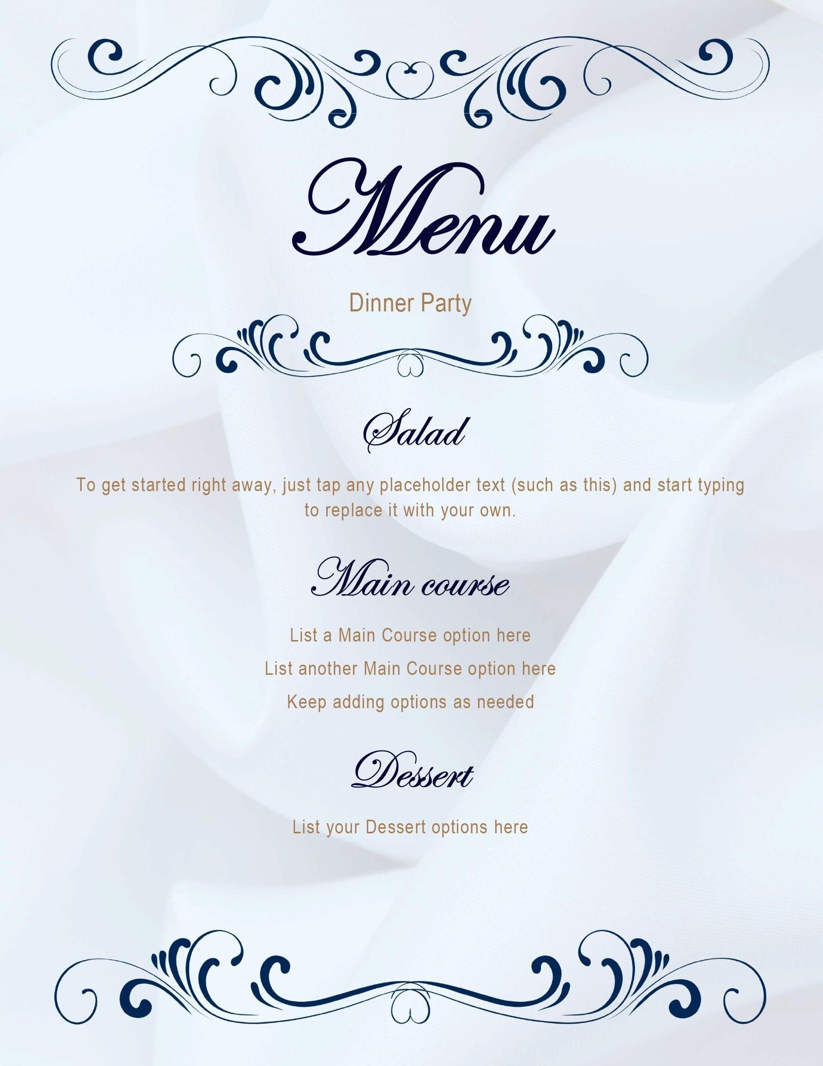 Menus - Office - Free Printable Dinner Party Menu Template
