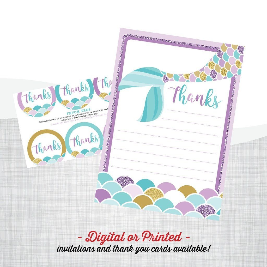 Mermaid Birthday Invitation In 2019 | Mermaid Party | Mermaid Party - Free Printable Mermaid Thank You Cards