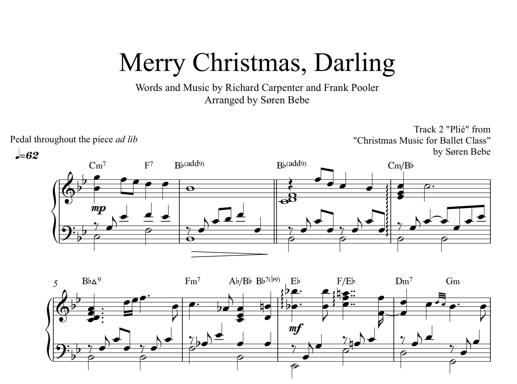 Merry Christmas, Darling (Plié) - Piano Solo Christmas Sheet Music - Free Printable Christmas Sheet Music For Piano