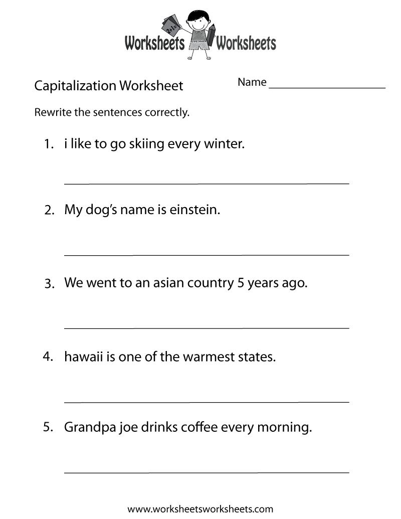 Middle School Capitalization Worksheet - Free Printable Educational - Free Printable Geometry Worksheets For Middle School