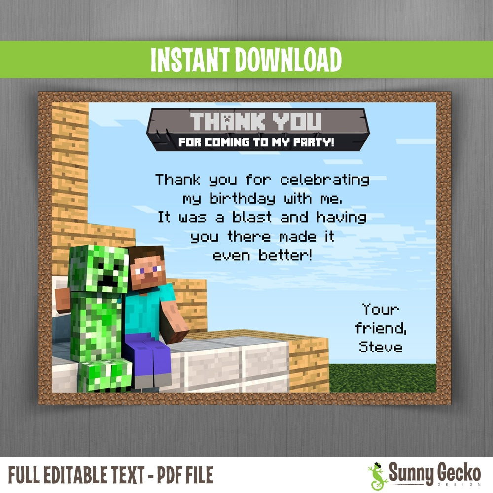Minecraft Birthday Thank You Cards - Instant Download And Edit With - Free Printable Minecraft Thank You Notes