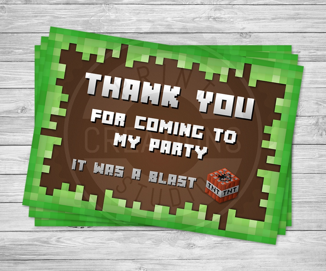 Minecraft Thank You Cards - Minecraft Birthday Party Supplies - Free Printable Minecraft Thank You Notes