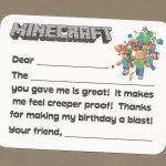 Minecraft Video Game Fill In The Blank Thank You Notes – Great For – Free Printable Minecraft Thank You Notes
