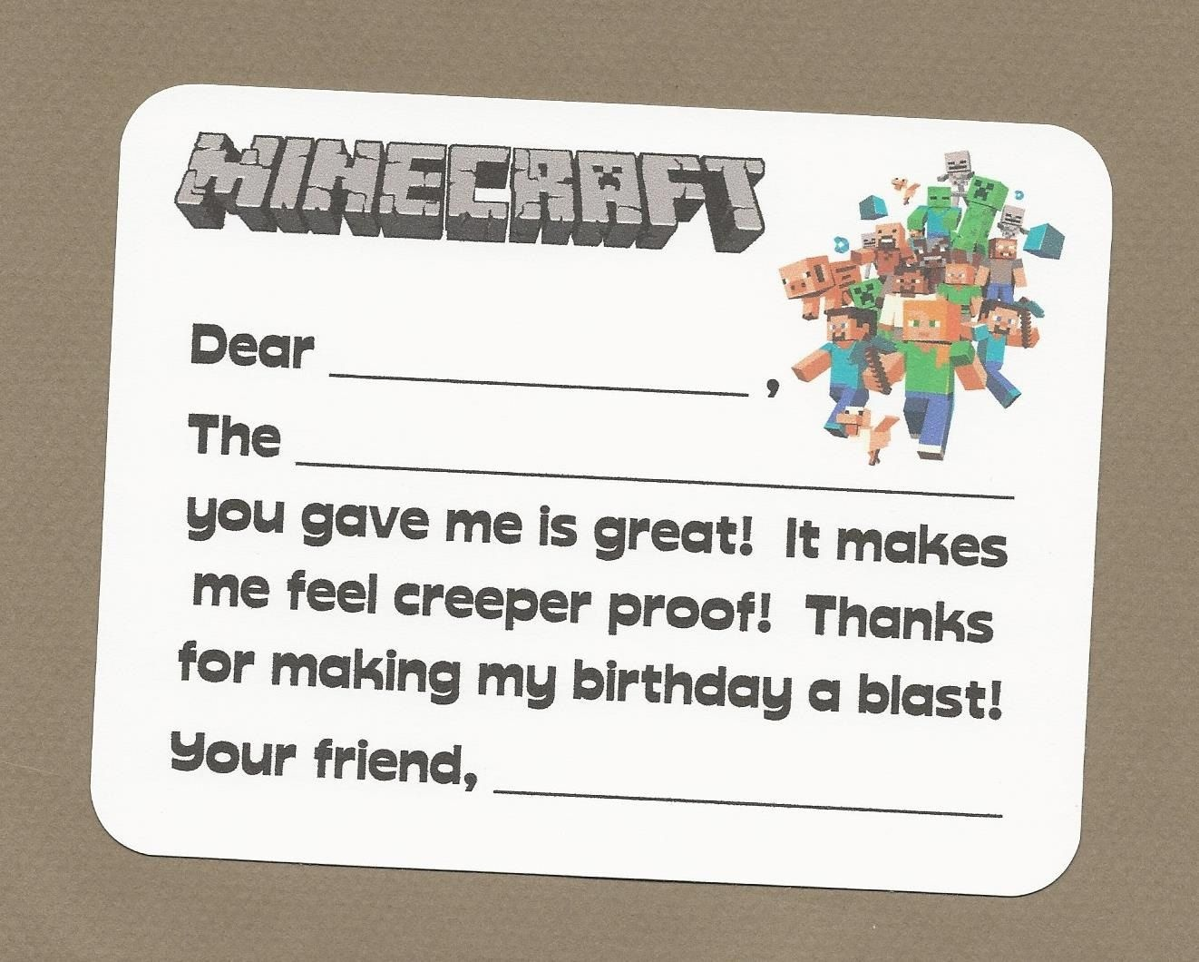 Minecraft Video Game Fill In The Blank Thank You Notes - Great For - Free Printable Minecraft Thank You Notes