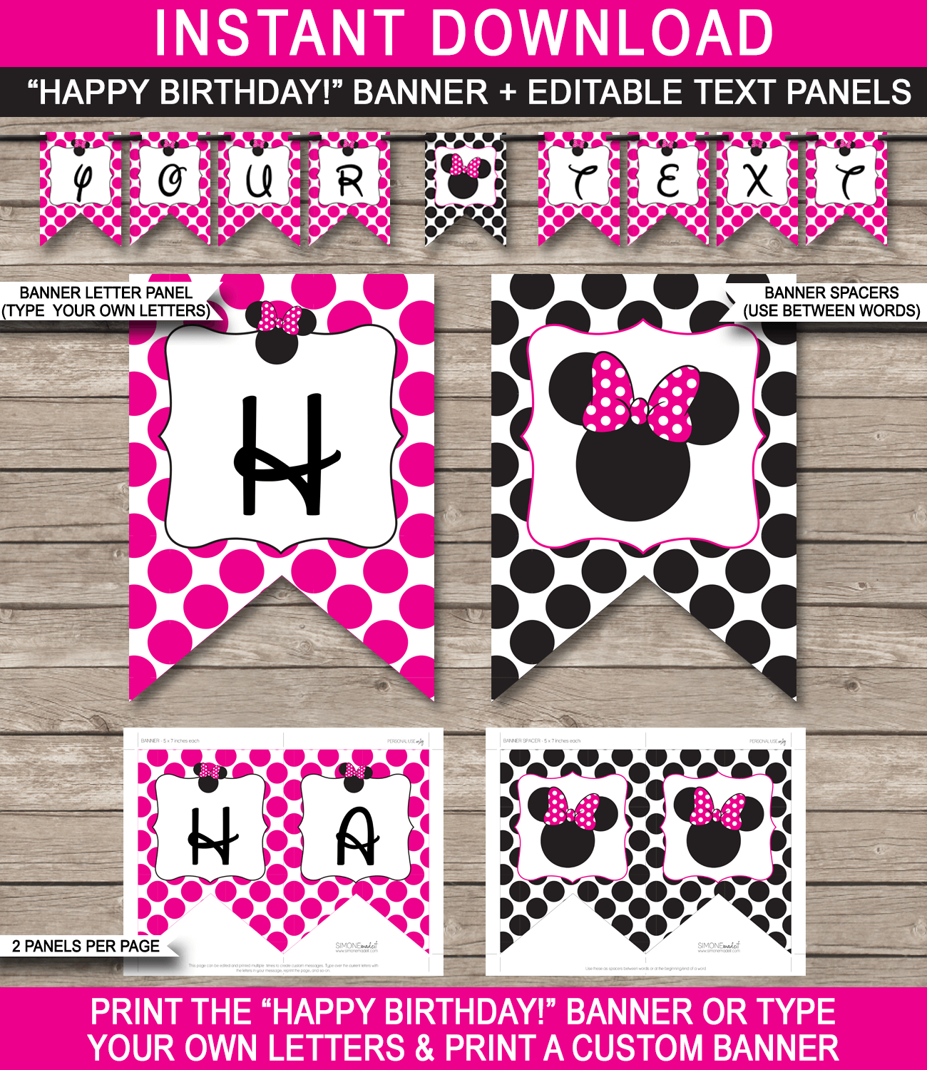 Minnie Mouse Party Banner Template | Birthday Banner | Editable Bunting - Free Printable Minnie Mouse Birthday Banner