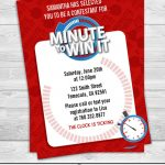 Minute To Win It Birthday Party Invitation Professionally | Etsy   Free Printable Minute To Win It Invitations