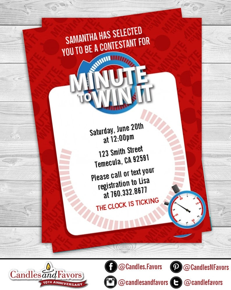 Minute To Win It Birthday Party Invitation Professionally | Etsy - Free Printable Minute To Win It Invitations