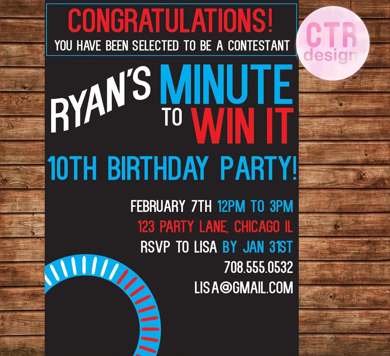 Minute To Win It Printable Birthday Invitation | Party Games - Free Printable Minute To Win It Invitations