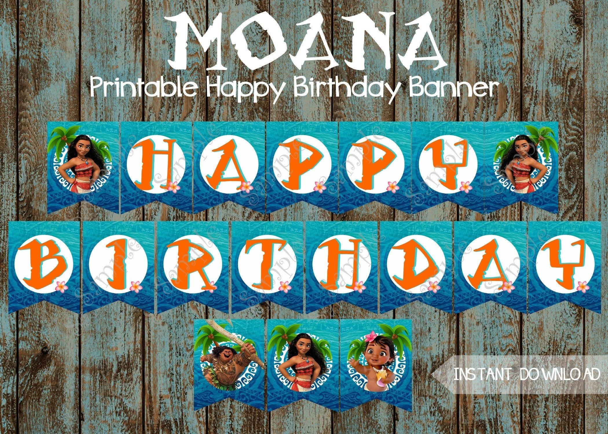 Moana Banner Moana Happy Birthday Banner Moana Printable | Etsy - Free Printable Moana Banner