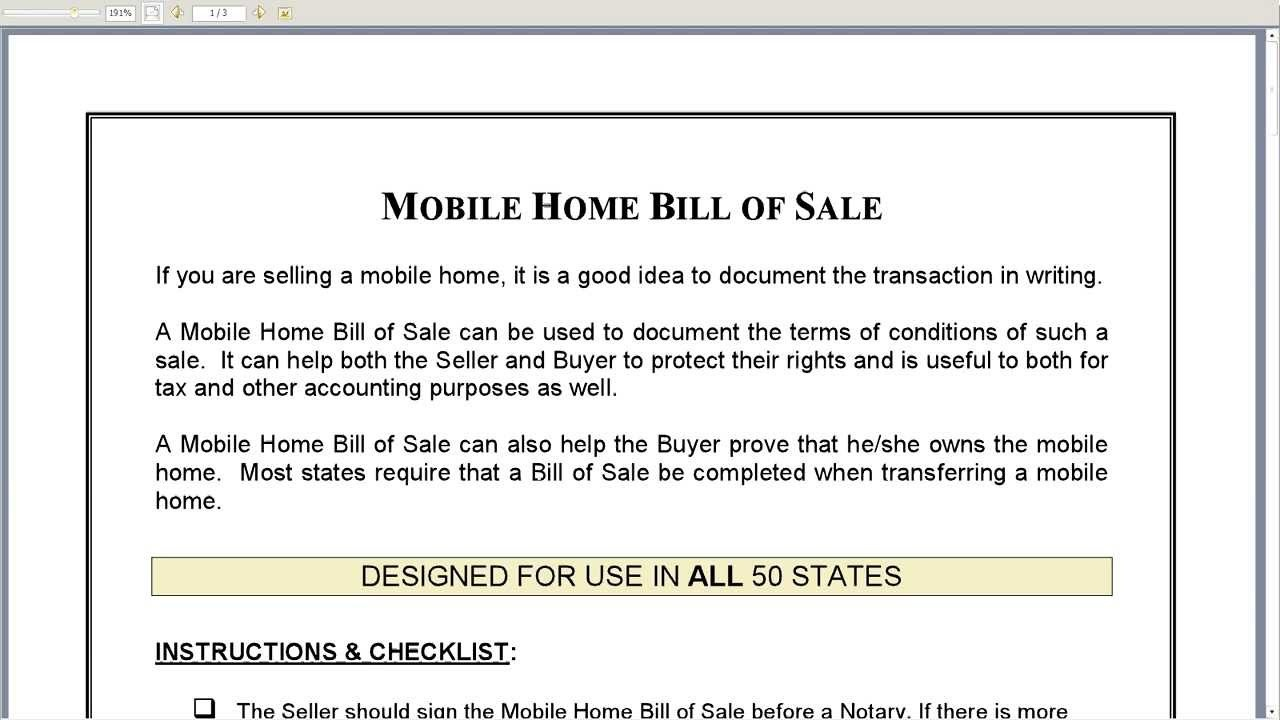 Mobile Home Bill Of Sale Template - Kaza.psstech.co - Free Printable Bill Of Sale For Mobile Home