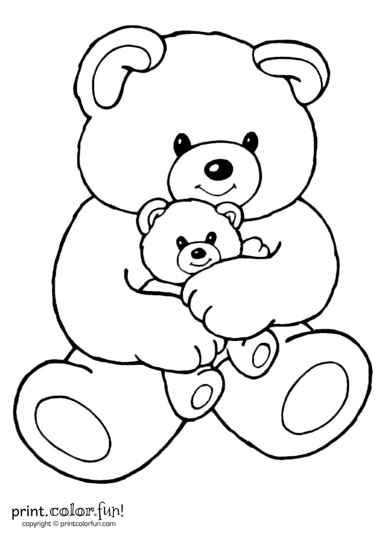 Mom And Baby Bear   Print. Color. Fun! Free Printables, Coloring - Teddy Bear Coloring Pages Free Printable