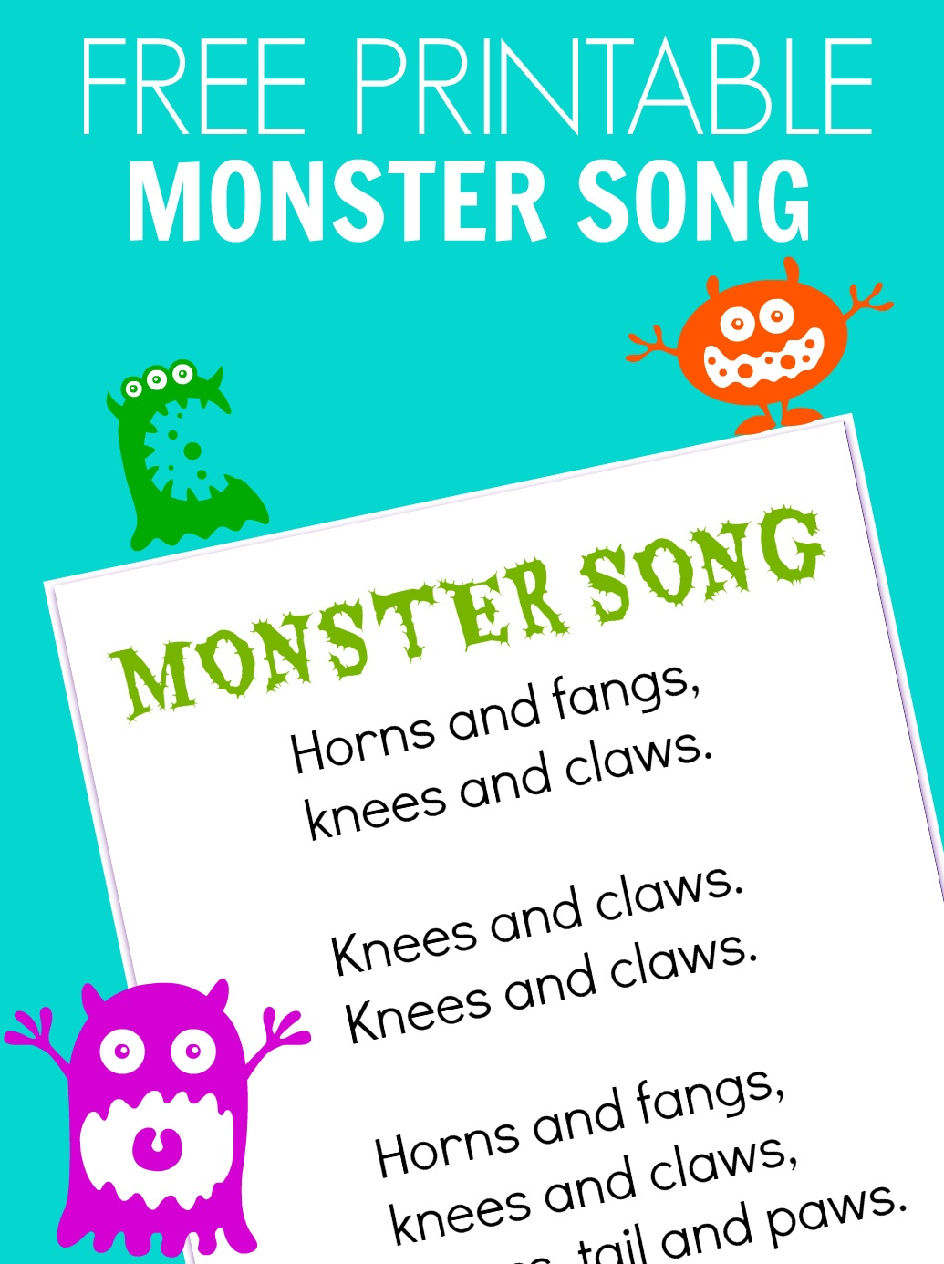 Monster Song - Free Printable - No Time For Flash Cards - Roll A Monster Free Printable